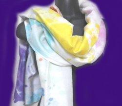 画像1: シルクレインボーショール パステルカラー●染色C