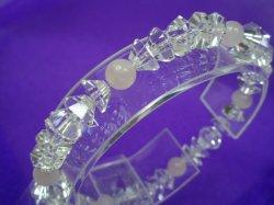 画像1: 水晶カット&ローズクォーツブレスレット